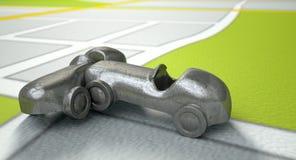 Carte de GPS avec Toy Car Collision image libre de droits