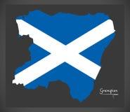 Carte de Grampian avec l'illustration écossaise de drapeau national Image stock
