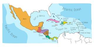 Carte de griffonnage de l'Amérique Centrale et du Mexique illustration stock