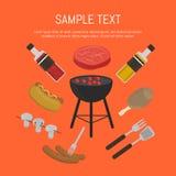 Carte de gril de barbecue, calibre de conception Photo stock