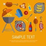 Carte de gril de barbecue, calibre de conception Photos libres de droits