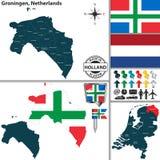 Carte de Groningue, Pays-Bas Image libre de droits