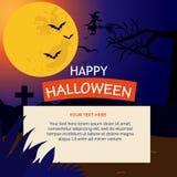 Carte de Halloween avec la lune de nuit illustration stock