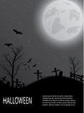 Carte de Halloween avec le château, le potiron, les battes et la lune Photos stock