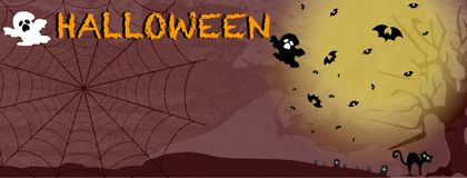 Carte de Halloween avec le fantôme et l'arbre de chat noir de toile d'araignée de batte photos libres de droits