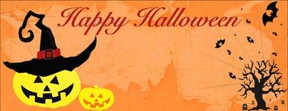 Carte de Halloween avec le fantôme et l'arbre de chat noir de toile d'araignée de batte photographie stock libre de droits