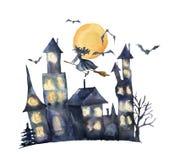 Carte de Halloween d'aquarelle Château peint à la main avec les fenêtres, les chauves-souris et la sorcière rougeoyantes d'isolem Image libre de droits
