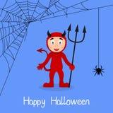 Carte de Halloween de toile de diable rouge et d'araignée Photographie stock