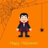 Carte de Halloween de toile de Dracula et d'araignée Photo libre de droits