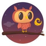 Carte de Halloween, silhouette de hibou avec de grands yeux se reposant sur une branche contre une pleine lune et ciel nocturne é Images libres de droits