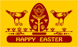 Carte de Happyeaster avec des oeufs et deux oiseaux Photo stock