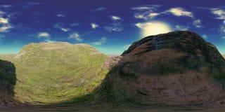 Carte de HDRI, fond sphérique de panorama d'environnement avec les collines vertes, source lumineuse rendant le rendu 3d equirect Photo libre de droits