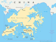 Carte de Hong Kong And Vicinity Political Image stock