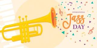 Carte de Jazz Day d'instrument de musique de trompette illustration de vecteur