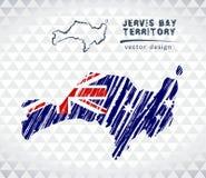 Carte de Jervis Bay Territory avec la carte tirée par la main de stylo de croquis à l'intérieur Illustration de vecteur Image libre de droits