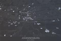Carte de Johannesburg, vue satellite, ville, Afrique du Sud Images libres de droits
