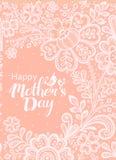 Carte de jour de mères avec une dentelle blanche illustration stock