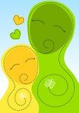 Carte de jour de mères d'étreinte de mère et de fille illustration de vecteur