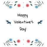 Carte de jour de Valentine Oiseaux avec des fleurs Image stock