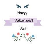 Carte de jour de Valentine Oiseaux avec des fleurs Photographie stock