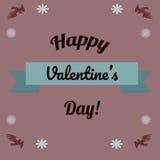 Carte de jour de Valentine Oiseaux avec des fleurs Image libre de droits