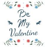 Carte de jour de Valentine Oiseaux avec des fleurs Images stock