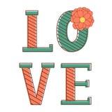 Carte de jour de valentines avec amour de mot Image libre de droits