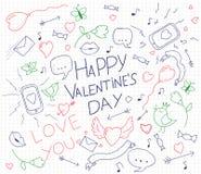 Carte de jour de valentines avec des griffonnages tirés par la main Lèvres, oiseaux, téléphone, courrier, coeur, flèches et ruban Photo libre de droits