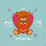 Carte de jour de valentines avec l'ours de nounours Illustration de vecteur Image libre de droits