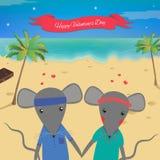Carte de jour de valentines avec la souris romantique de couples Fond d'été Belle souris Image stock