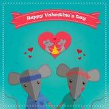 Carte de jour de valentines avec la souris romantique de couples Garçon et fille de souris Illustration de vecteur Photos libres de droits