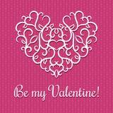 Carte de jour de Valentines avec le coeur Images libres de droits