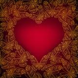 Carte de jour de valentines avec le coeur des papillons d'or illustration libre de droits