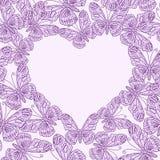 Carte de jour de valentines avec le coeur des papillons seamless illustration stock