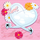 Carte de jour de Valentines avec le coeur et les hirondelles Image libre de droits