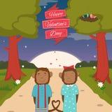 Carte de jour de valentines avec les singes romantiques de couples Images stock