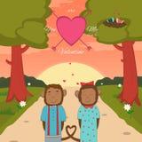 Carte de jour de valentines avec les singes romantiques de couples Photographie stock libre de droits
