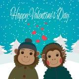 Carte de jour de valentines avec les singes romantiques de couples Illustration de vecteur Photographie stock libre de droits