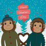 Carte de jour de valentines avec les singes romantiques de couples Illustration de vecteur Image stock