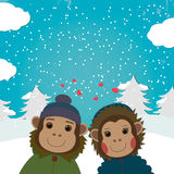 Carte de jour de valentines avec les singes romantiques de couples Illustration de vecteur Photo libre de droits