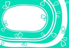 Carte de jour de valentines de frontière de cadre de coeur de l'eau Image libre de droits