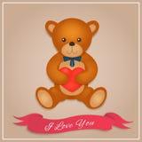 Carte de jour de Valentines Ours de nounours avec le foyer rouge Illustration de vecteur Images libres de droits