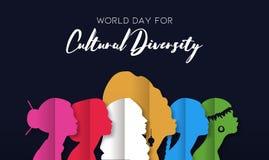 Carte de jour de diversité culturelle des têtes diverses de femmes illustration libre de droits