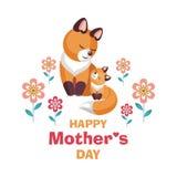 Carte de jour du ` s de mère avec des renards Photo stock