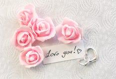 Carte de jour du ` s de Valentine avec la confession d'amour de note Image libre de droits
