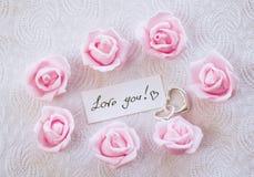 Carte de jour du ` s de Valentine avec la déclaration de note de l'amour Photographie stock libre de droits