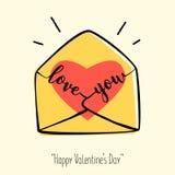 Carte de jour du ` s de Valentine dans le rétro style Enveloppe tirée par la main avec le coeur et le lettrage Photos stock