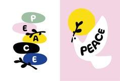 Carte de jour de paix avec les pierres équilibrées et colombe tenant la branche Photos libres de droits
