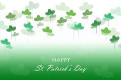Carte de jour de Patricks Le trèfle laisse l'aquarelle dessinée à la main sur le vert Photo libre de droits