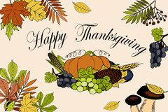 Carte de jour de thanksgiving avec l'inscription et le potiron illustration libre de droits